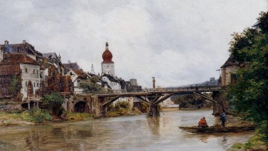 HWY 10011 Carl Onken Öl auf Karton Alte Zeller Brücke vor 1900 (2).jpg