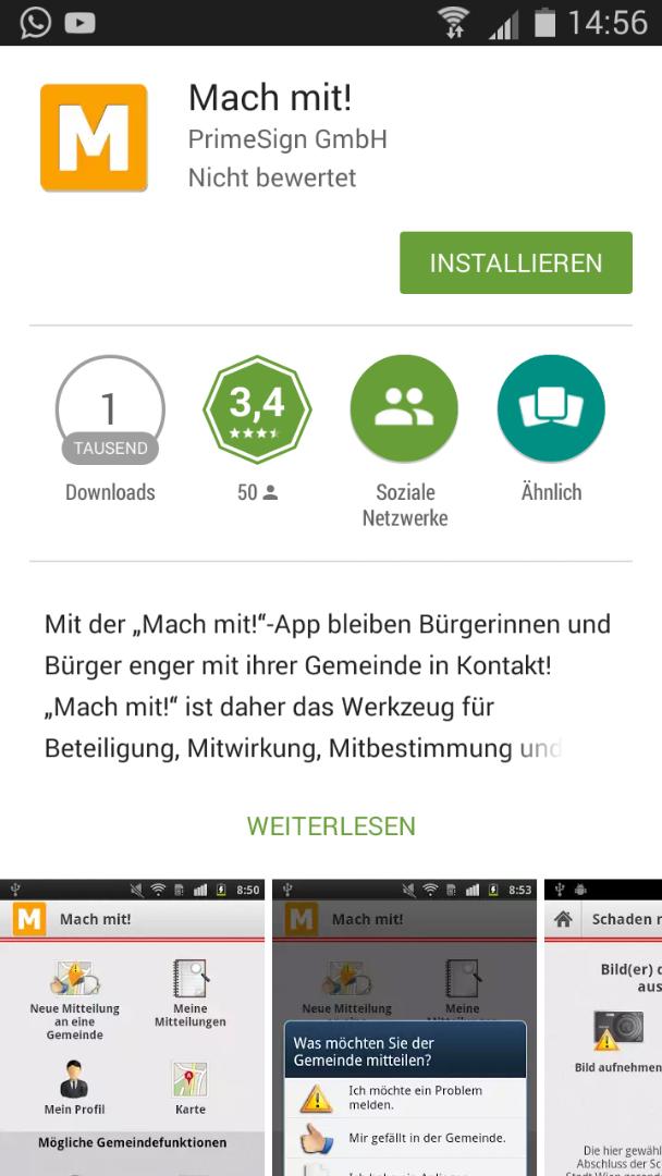 Installation der Mach-mit-App über den App-Store
